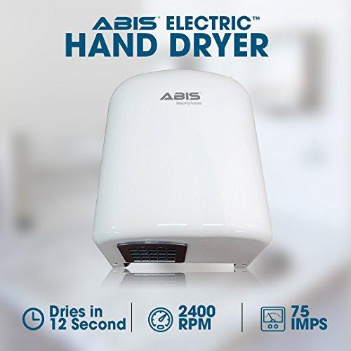Secador de manos automático – Secador de manos eléctrico con un bajo coste de funcionamiento – Diseño excelente y adecuado para todas las áreas de poco tráfico – ABIS secador de manos económico.