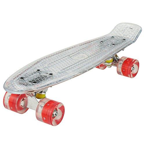 Tomasa Mini Cruiser LED Rollen Retro Stil Skateboard 55cm mit ABEC 7 Kugellager für Erwachsene Kinder mit oder ohne USB Kabel (Deck mit LED?Rollen mit LED, Weiß Deck+Rot Rollen)