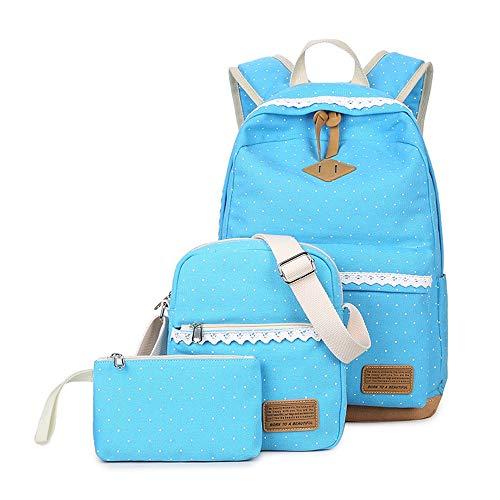 PUSPAC Leinwand dot Rucksack Cute Teen mädchen rucksäcke Set 3 stück Schule bookbags Unisex Casual Rucksack Satchel Bookbag (Farbe : Aqua Blue, Größe : 29x14x42cm)