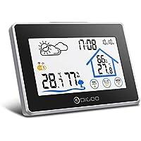 Estación meteorológica con sensor inalámbrico al aire libre, DIGOO DG-TH8380 higrómetro digital con pantalla táctil, monitor de temperatura y humedad