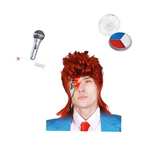 Seemeinthat David Bowie Set Ikonische Musik Rock Star Pop Ziggy Stardust Perücke Gesichtsfarbe Mikrofon Aladdin Sane The Man Who Fell to Earth