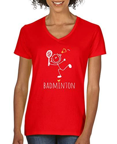 Baumwolle Damen V-neck T-shirts (Comedy Shirts - Badminton Herz - Damen V-Neck T-Shirt - Rot/Weiss-Gelb Gr. L)