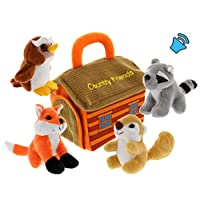 Plush Woodland Animals with Country House Carrier for Kids- 5pc- Talking Animal Interactive Toy Set- Stuffed Owl, Raccoon, Fox & Squirrel- Great Baby Shower Present for Boys & Girls by Etna
