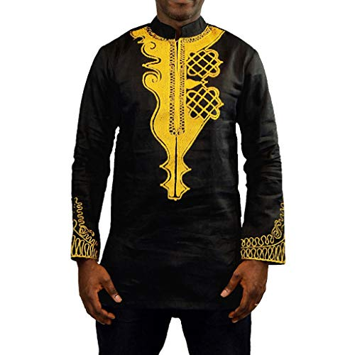 ODRD Hot Herren Shorts Frühling Sommer Männer Mode Männer Afrika/Indien Ethnic Summer Bohe Langarm Basic T-Shirt Tops für Slim Shirts Weste Vest T-Shirts Top Tanktop Bluse Tee t Shirts