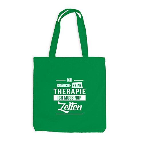 Jutebeutel - Ich Brauche Keine Therapie - Zelten Kellygrün