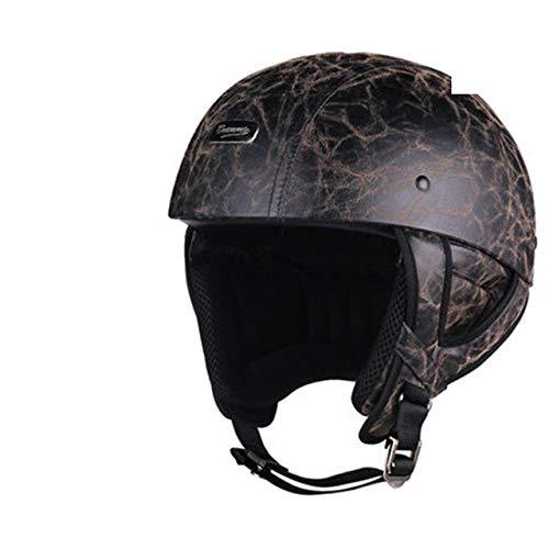 Motorradhelm Retro Half Face Helm Retro German StyleCruiser Retro Lederbrille XL