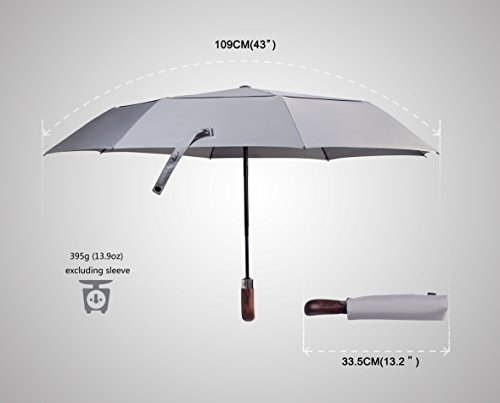 (Designed in Britain) Balios® Handmade Real Wood Handle Double Canopy Windproof Fiberglass Auto Open & Close Folding Umbrella-Premium 300T Finest Fabric-Uniquely Strong-Men's Ladies-Luxury GREY