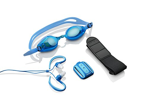 Lenco Xemio-1000 wasserdichter MP3-Player (Schwimmbrille, In-Ear-Kopfhörer, LED, micro-USB, 3,5mm Buchse, Armband)