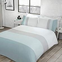 Sleepdown Colour Block Duck Egg Reversible Soft Easy Care Duvet Cover Quilt Bedding Set with Pillowcases - Super King (220cm x 260cm)
