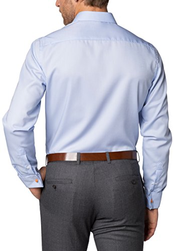 Eterna long sleeve Shirt SLIM FIT Natté structured azzurro chiaro