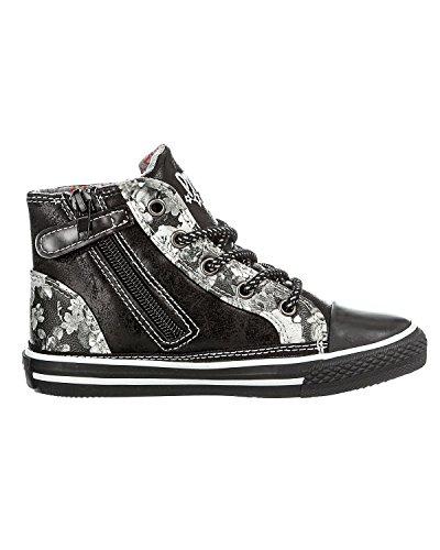 PRIMIGI 43901 nero fiori borchie scarpe bambina sneaker mid zip laterale Nero