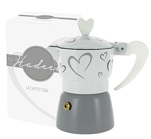 CAFFETTIERA con Cuori 12,5X13 Bianco/Grigio