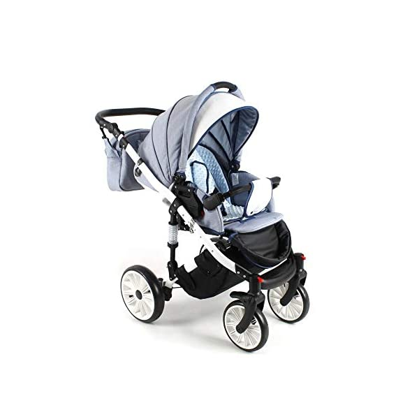 Travel System Stroller Pram Pushchair 2in1 3in1 Set Isofix Ottis We by SaintBaby White OW-02 4in1 car seat +Isofix SaintBaby 3in1 , 2in1 or 4in1 selectable with isofix. With 3in1 you get the car seat (baby seat) in addition. With 4in1 you get both the infant carrier with Isofix mount and an Isofix base for your car. Of course, each set includes the infant carrier (classic stroller) and the buggy attachment (sports seat). The free accessories are also included in each set (changing bag, mosquito net and rain hood). Of course the car complies with the EU safety standard EN1888. During the production as well as before shipping, each car is carefully checked, so that you can be sure to have one of the best cars. Saintbaby stands for all-round carefree packages, so you also get a changing bag in the colour of the car, as well as rain and insect protection free of charge. With all the colours of this pram you will find the pram of your dreams. 5