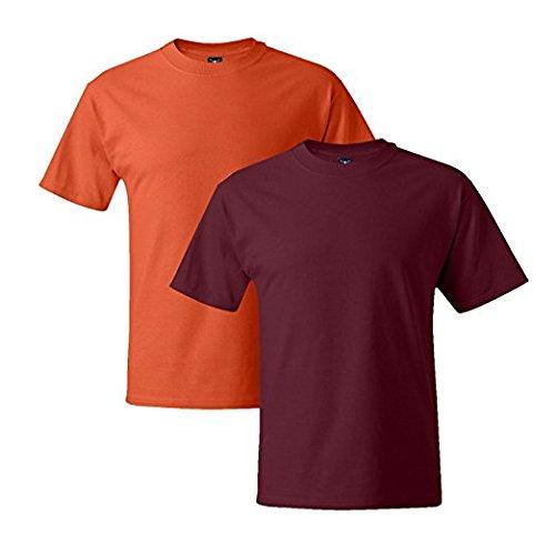 Hanes Mens 5180 Short Sleeve Beefy T 1 Cardinal / 1 Orange