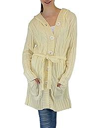 S&LU Damen Strickjacke/ Cardigan mit einer stylischen Kapuze S/ M, L/ XL