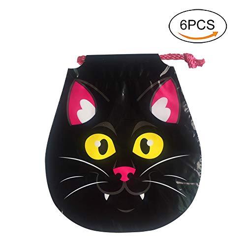 Lumanuby 6X Gamelt Tier Süßigkeiten Tasche mit Kordelzug für Halloween PE Verpackung Tüte für Treat Oder Trick Size 20.5cm*18cm (Schwarz Katze)