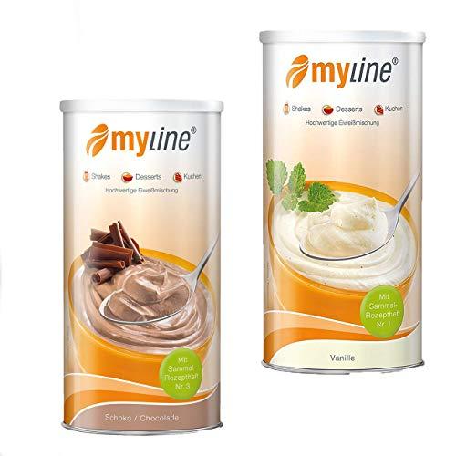 Myline Eiweiß Shake Protein Pulver 2er Pack 2x 400g + AV Maßband + 2 Proteinriegel (Schoko-Vanille) (Protein-pulver-shakes)