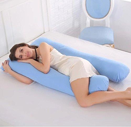 Cuscino per gravidanza e maternità a forma di U, sostegno per tutto il corpo, per dormire e per allattare, con federa in 100% cotone, per adulti, 100%_cotone/cotone (Blue)