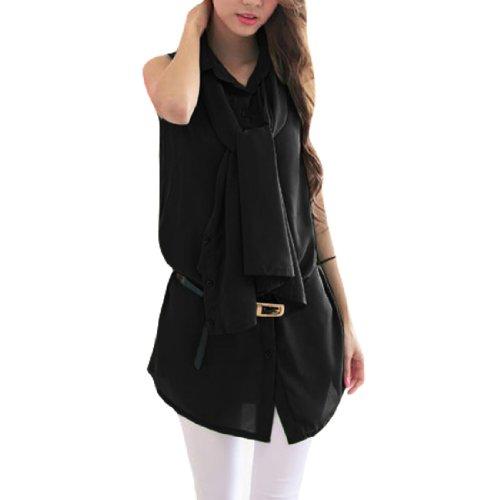 Femmes Col Pointu Cravate Corde Boutons En Haut T-shirt Noir