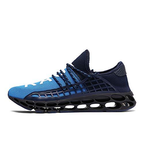 XIDISO Herren Damen Trainer Fashion Slip On Blade Trail Running Schuhe Herren Casual Sports Athletic Tennis Walking Schuh Mesh Sneakers, Blau, 44 EU -
