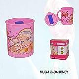 Honeyshopee Ski Barbie Honey Plastic Coffee,Juice Milk & Water Travel Mug With Sipper Lid(Color &Prints May Vary)