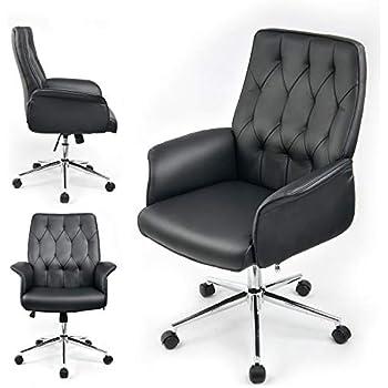 ® Bürostuhl weiß Büro Schreibtischstuhl Drehstuhl Stuhl Retro Modern en.casa