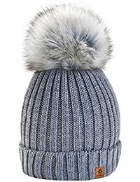 4sold RITA Lady Skullies Bonnets Bonnet fourré hiver pour femme bonnet tricoté avec torsades et gros pompon en fourrure plusieurs coloris taille unique