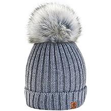 4sold Gorro de invierno de forro polar para mujer con cristales y pompón  multicolor 2d0e30e9e2ba