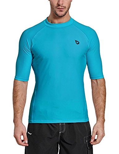 Baleaf Herren Short Sleeve Rashguard Swim Shirt UV-Sonnenschutz UPF 50+, blau, Large -