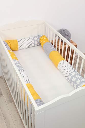 Cojín protector para cuna de ULLENBOOM ® cojín chichonera en forma de serpiente elefantes amarillo (ideal para proteger al bebé de los barrotes de la cuna o como cojín de apoyo)