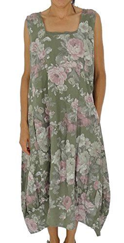 Mein Design Lagenlook de Mallorca Damen Kleid HJ700OL50 Tunika Victorian Rose Used Look Leinen Gr. 46, 48, 50, 52 tragbar (50, oliv) (Design Tunika)