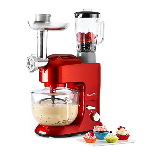 Klarstein Lucia Argentea 2G Food Processor • Stand Mixer • Blender • 1200W • 5.2 Litres • BPA-Free • Meat Mincing & Mixing Glass Attachment • 6-Stage Operating Speed • Die-Cast Mixing Hook • Various Attachements • Easy to Operate and to Clean • Red