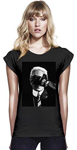 Karl Lagerfeld Fashion Icon Womens Continental Rolled Sleeve T-Shirt Medium - Galliano Damen-kleidung