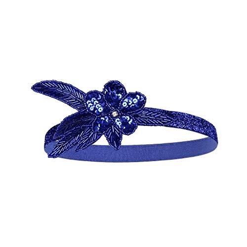 TTWOMEN Hochzeit Feather Mode Damen Cocktail Party Haarspange Stirnband Blume Mesh Kopfschmuck Stirnband (Blau)