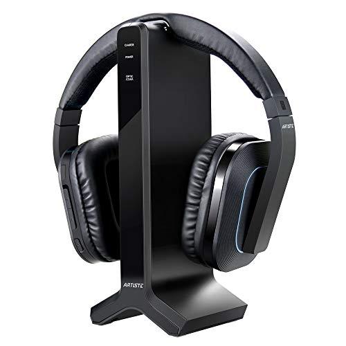 Artiste D1 Drahtloser Fernsehkopfhörer mit 2.4GHz Digital-Sender-Ladestation, mehrfacher Kopfhörer Angeschlossener drahtloser Kopfhörer-Kopfhörer für Computer Fernsehapparat Radio thumbnail