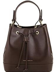 Tuscany Leather - Minerva - Sac secchiello pour femme en cuir Saffiano - Marron foncé