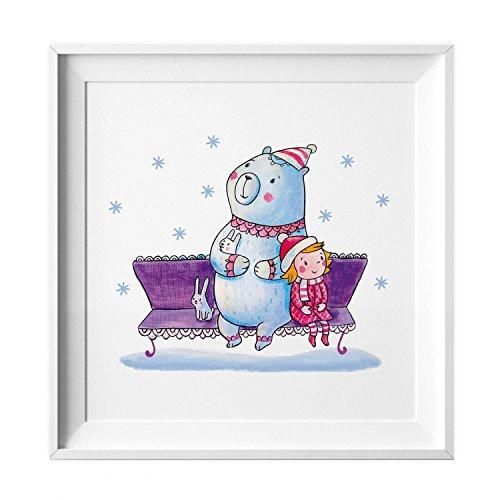 nikima Schönes für Kinder 009 Kinderzimmer Bild Bär Winter Poster Plakat Quadratisch 20 x 20 cm (Ohne Rahmen)