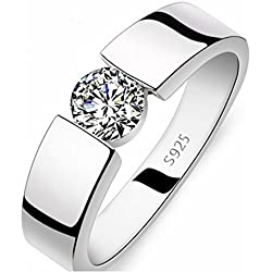 Avn Jewellers Silver 18Ct Platinum And Rodium Plated Ring For Girls