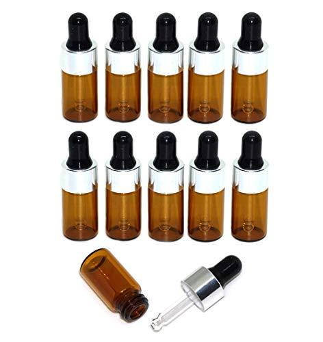 12 STÜCKE 3 ML 0,1 UNZE Leere Nachfüllbare Brown Mini Glas Tropfflasche mit Schwarzer Gummikappe und Pipette Tragbare Parfüm Ätherisches Öl Aromatherapie Glas Fläschchen Halter