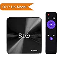 [2GB+16GB]R-TV BOX S10 TV BOX Android 7.1 4K Amlogic 912 64bit Octa-core Ultra HD Smart TV Box Support Dual Band WIFI 2.4G/5.0G Ethernet 1000M Bluetooth 4.1 TV Set Top Box with Remote Control