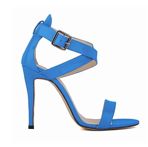 Wealsex Sandales Escarpins Cuir Vernis Bride Cheville Boucle Bout Ouvert Talon Aiguilles Haut Sexy Mode Femmes Bleu