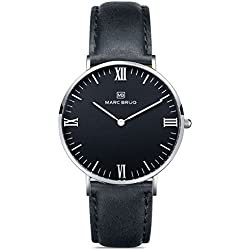 Marc Brüg Men's Minimalist Watch Davos 41 Hygge Black
