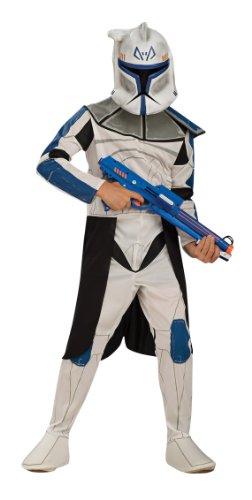 Star Wars Clonetrooper Captain Rex Kinder Kostüm Lizenzware weiss-blau-schwarz 128/140 (8-10 Jahre) (Captain Rex Kinder Kostüm)
