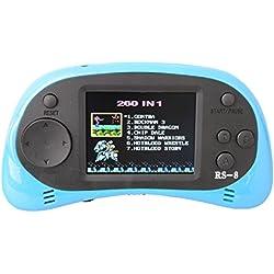 """ZHISHAN Kids Classic Retro Handheld videoconsola consola de juegos 2,5 """"LCD 8 bits 260 en 1 juegos (Azul Claro)"""