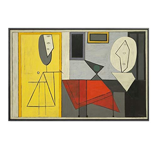 A-Fort Helles Luxuswohnzimmerstudien-Wandbild der abstrakten Art- DecoMalerei Mode (Color : Light wood color frame, Size : 60 * 90cm)
