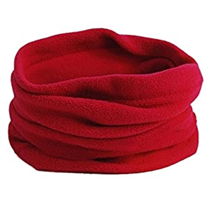 SODIAL(R) Multifunktion Hut Unisex Vlies-thermischer Snood Hut Ansatz Waermer Skibekleidung Schal (rot)