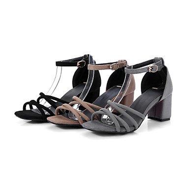 LvYuan Da donna Sandali Comoda Cinturino alla caviglia Finta pelle Estate Casual Formale Comoda Cinturino alla caviglia Fibbia QuadratoNero Black