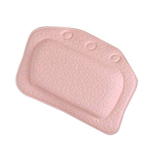 BESTOMZ Badewannekissen mit Saugnäpfen Bad Nackenkissen Entspannung weiche Kopfstütze (Rosa)