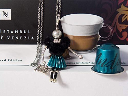 französische Puppe Halskette Türkis/schwarz mit Koffer