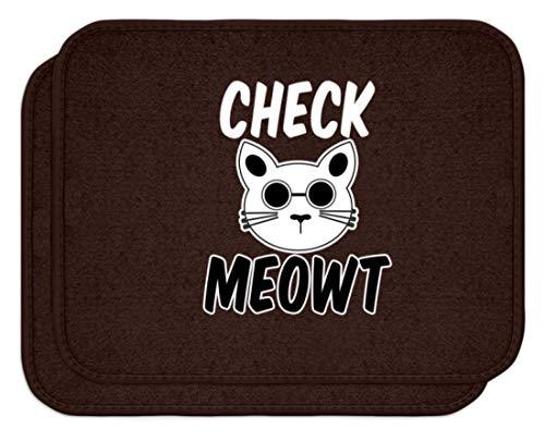 SPIRITSHIRTSHOP Check Meowt! Für die coolen Katzenliebhaber unter uns! Sonnenbrille Mauz - Automatten -Einheitsgröße-Braun
